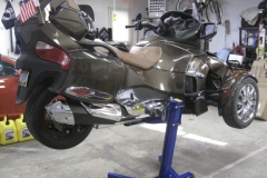 CanAm Spyder lifted with Big Blue motorcycle lift